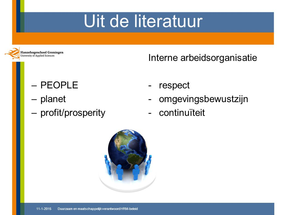 Uit de literatuur PEOPLE planet profit/prosperity