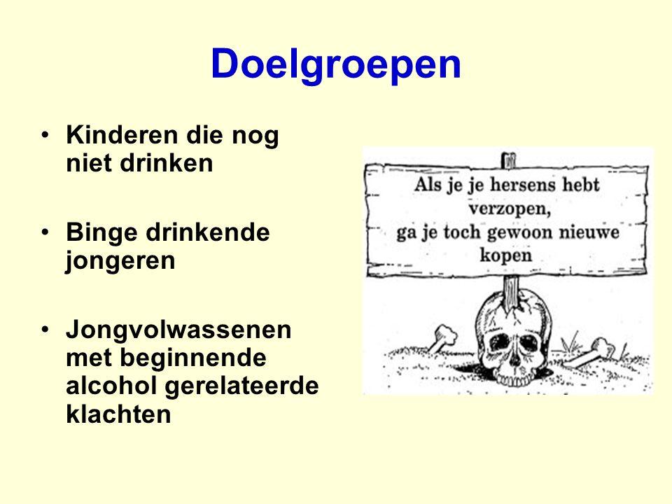 Doelgroepen Kinderen die nog niet drinken Binge drinkende jongeren