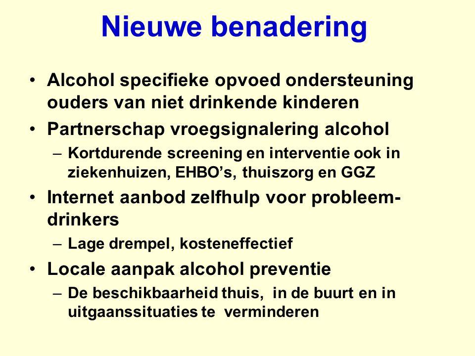Nieuwe benadering Alcohol specifieke opvoed ondersteuning ouders van niet drinkende kinderen. Partnerschap vroegsignalering alcohol.
