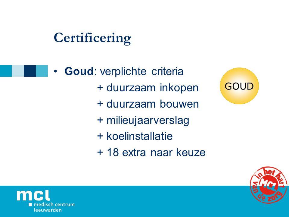 Certificering Goud: verplichte criteria + duurzaam inkopen