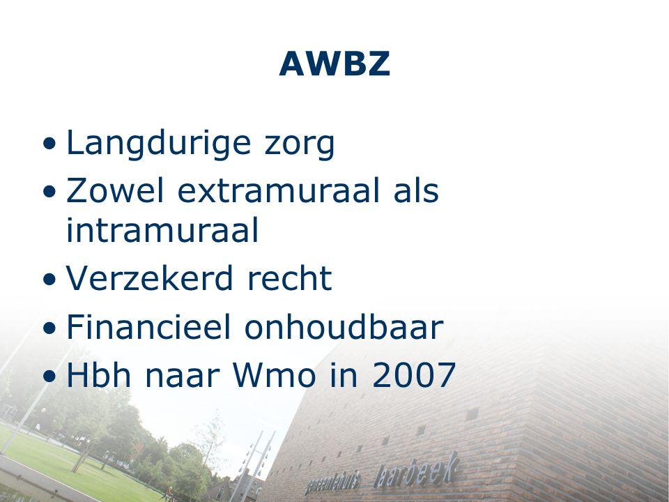 AWBZ Langdurige zorg. Zowel extramuraal als intramuraal. Verzekerd recht. Financieel onhoudbaar.