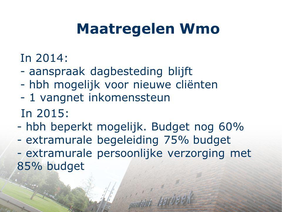 Maatregelen Wmo In 2014: - aanspraak dagbesteding blijft - hbh mogelijk voor nieuwe cliënten - 1 vangnet inkomenssteun.