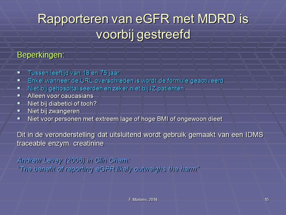 Rapporteren van eGFR met MDRD is voorbij gestreefd