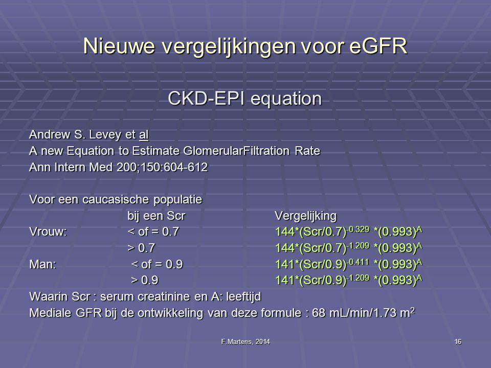 Nieuwe vergelijkingen voor eGFR