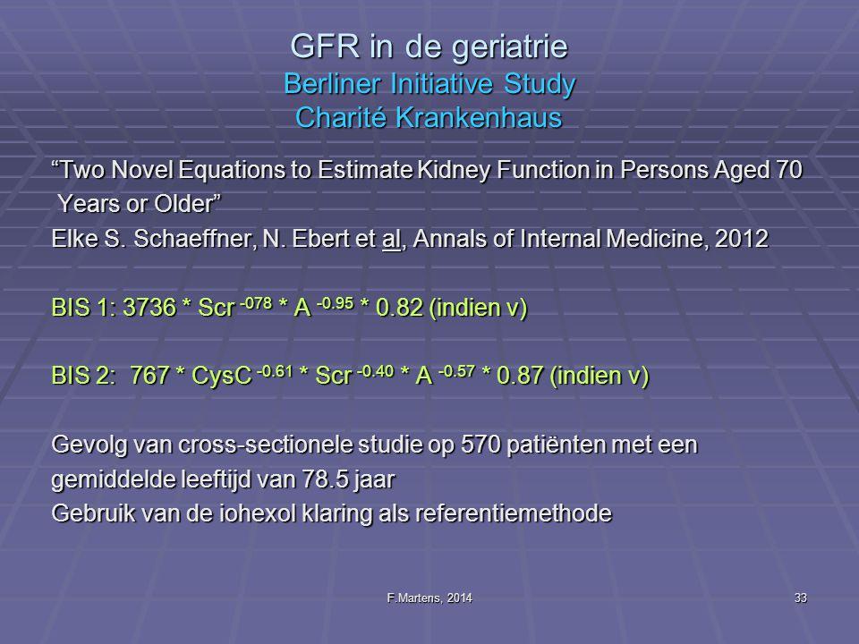GFR in de geriatrie Berliner Initiative Study Charité Krankenhaus