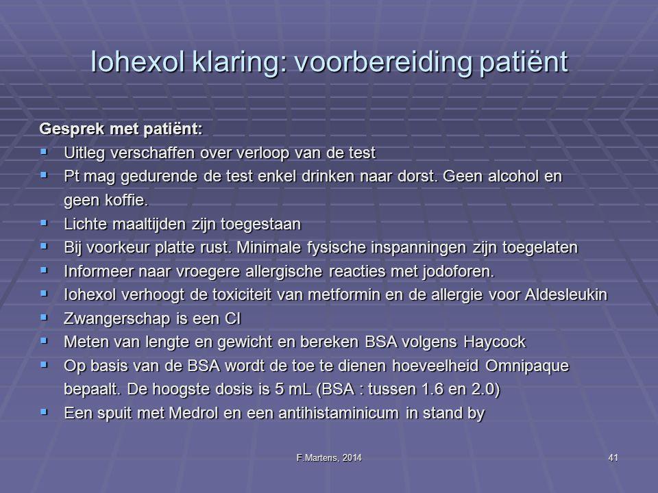 Iohexol klaring: voorbereiding patiënt
