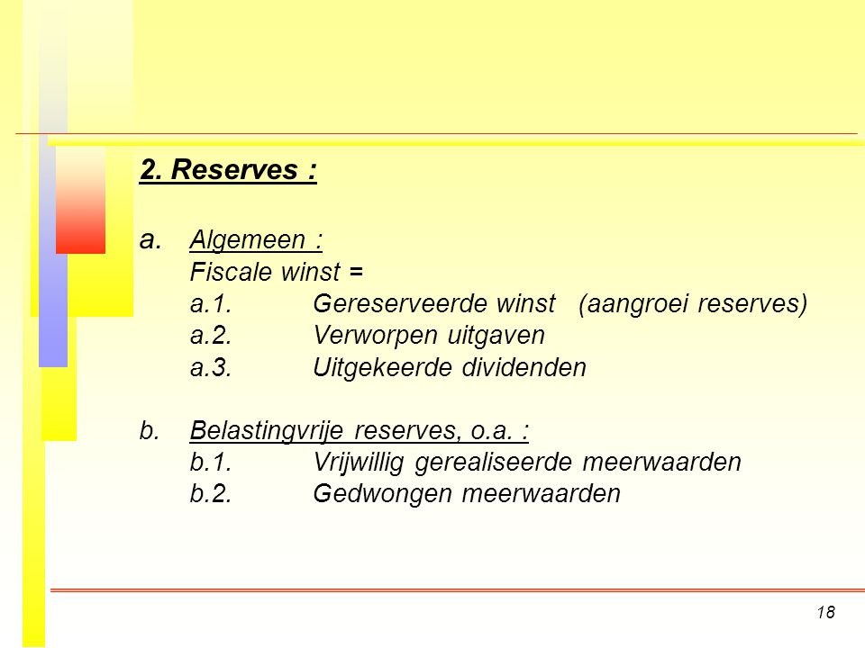 2. Reserves : a. Algemeen : Fiscale winst =
