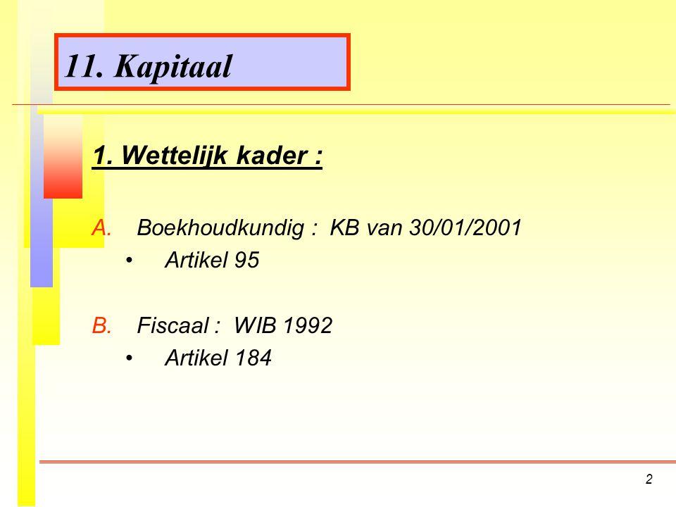 11. Kapitaal 1. Wettelijk kader : Boekhoudkundig : KB van 30/01/2001