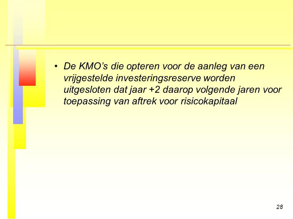 De KMO's die opteren voor de aanleg van een vrijgestelde investeringsreserve worden uitgesloten dat jaar +2 daarop volgende jaren voor toepassing van aftrek voor risicokapitaal