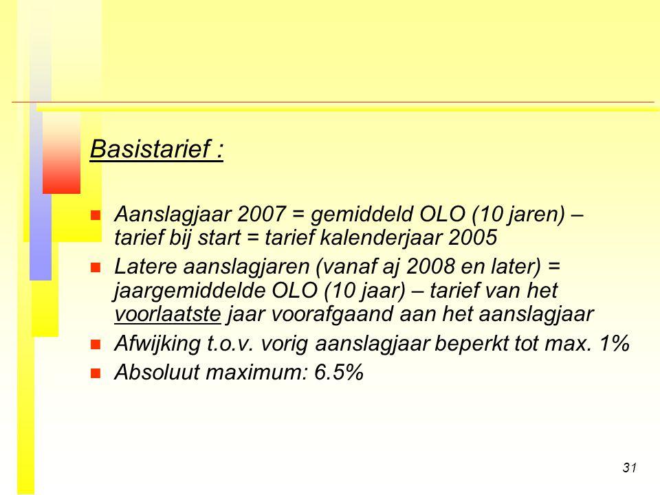 Basistarief : Aanslagjaar 2007 = gemiddeld OLO (10 jaren) – tarief bij start = tarief kalenderjaar 2005.