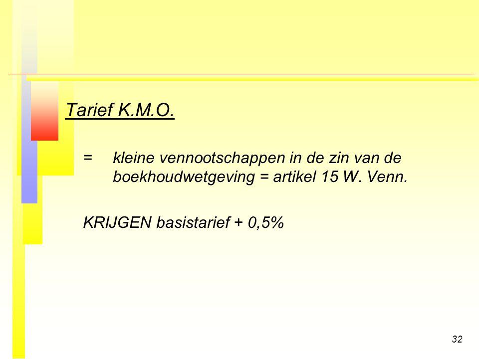 Tarief K.M.O. = kleine vennootschappen in de zin van de boekhoudwetgeving = artikel 15 W. Venn. KRIJGEN basistarief + 0,5%