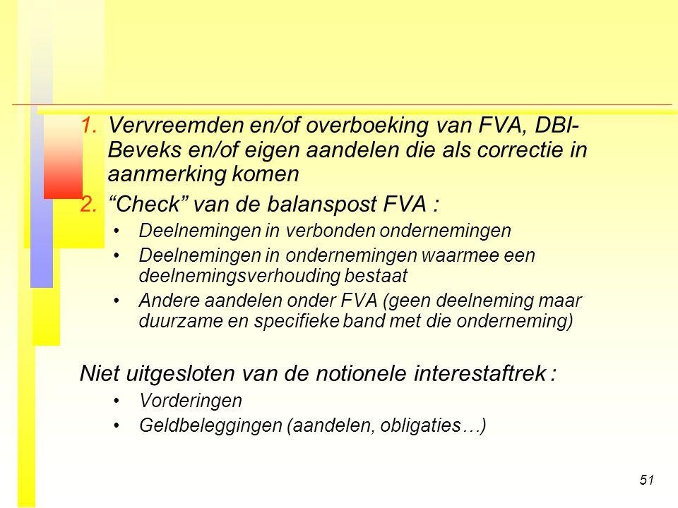 Check van de balanspost FVA :