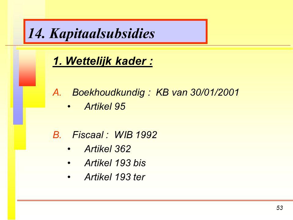 14. Kapitaalsubsidies 1. Wettelijk kader :