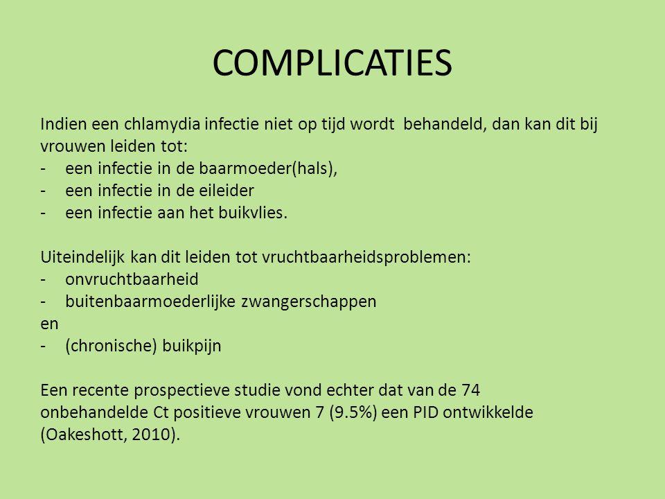 COMPLICATIES Indien een chlamydia infectie niet op tijd wordt behandeld, dan kan dit bij. vrouwen leiden tot: