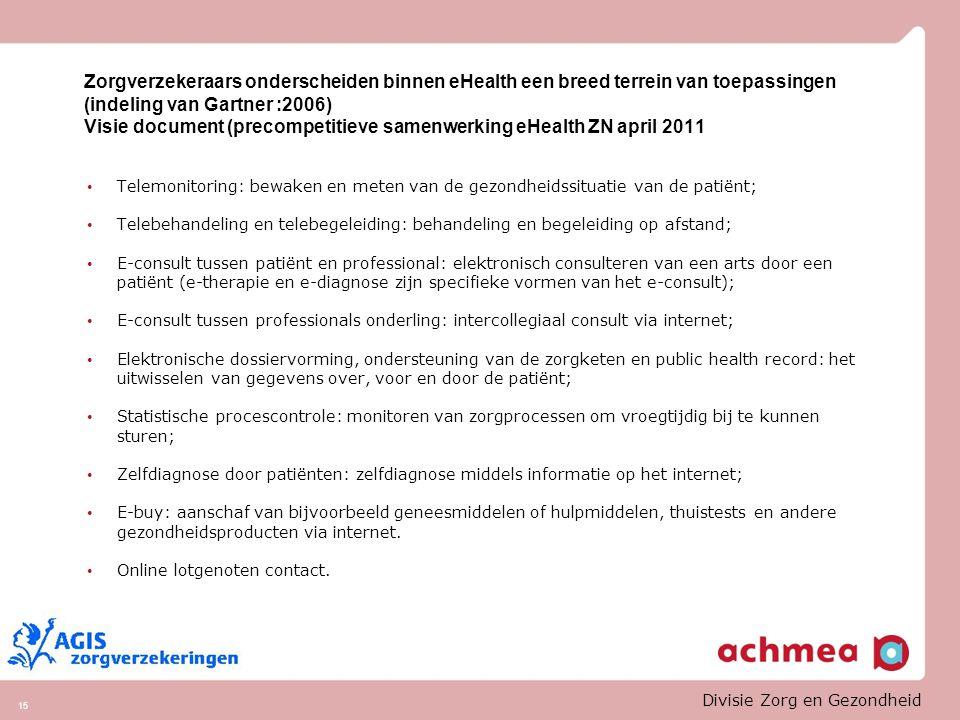 Zorgverzekeraars onderscheiden binnen eHealth een breed terrein van toepassingen (indeling van Gartner :2006) Visie document (precompetitieve samenwerking eHealth ZN april 2011