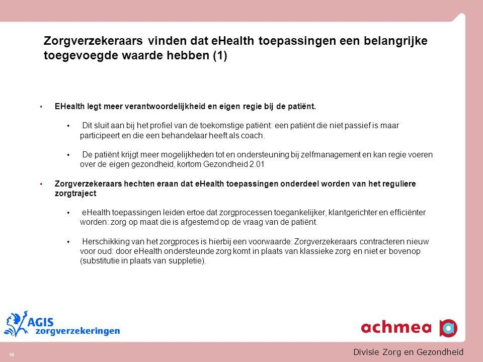 Zorgverzekeraars vinden dat eHealth toepassingen een belangrijke toegevoegde waarde hebben (1)