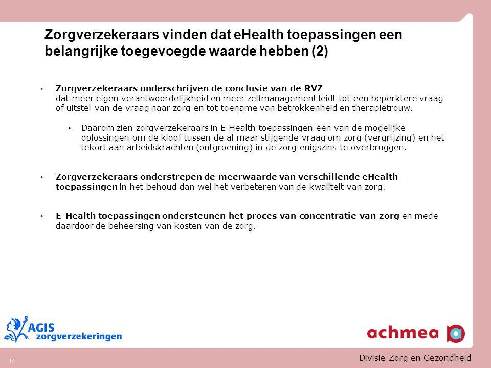 Zorgverzekeraars vinden dat eHealth toepassingen een belangrijke toegevoegde waarde hebben (2)