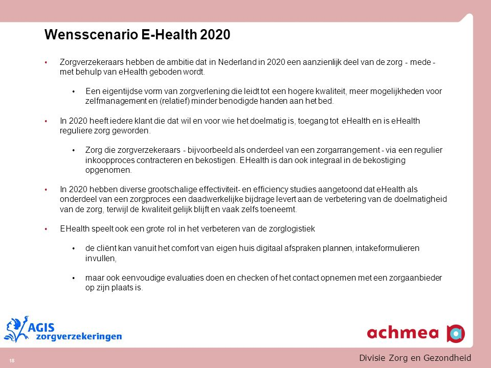 Wensscenario E-Health 2020