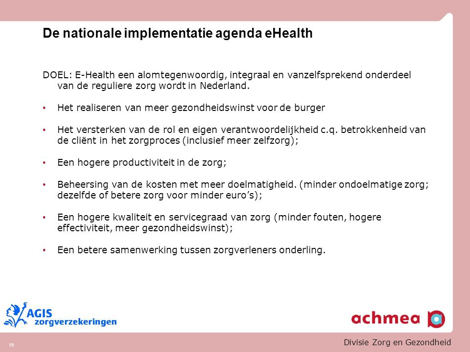 De nationale implementatie agenda eHealth