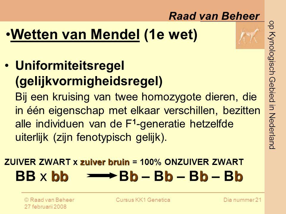 Wetten van Mendel (1e wet)