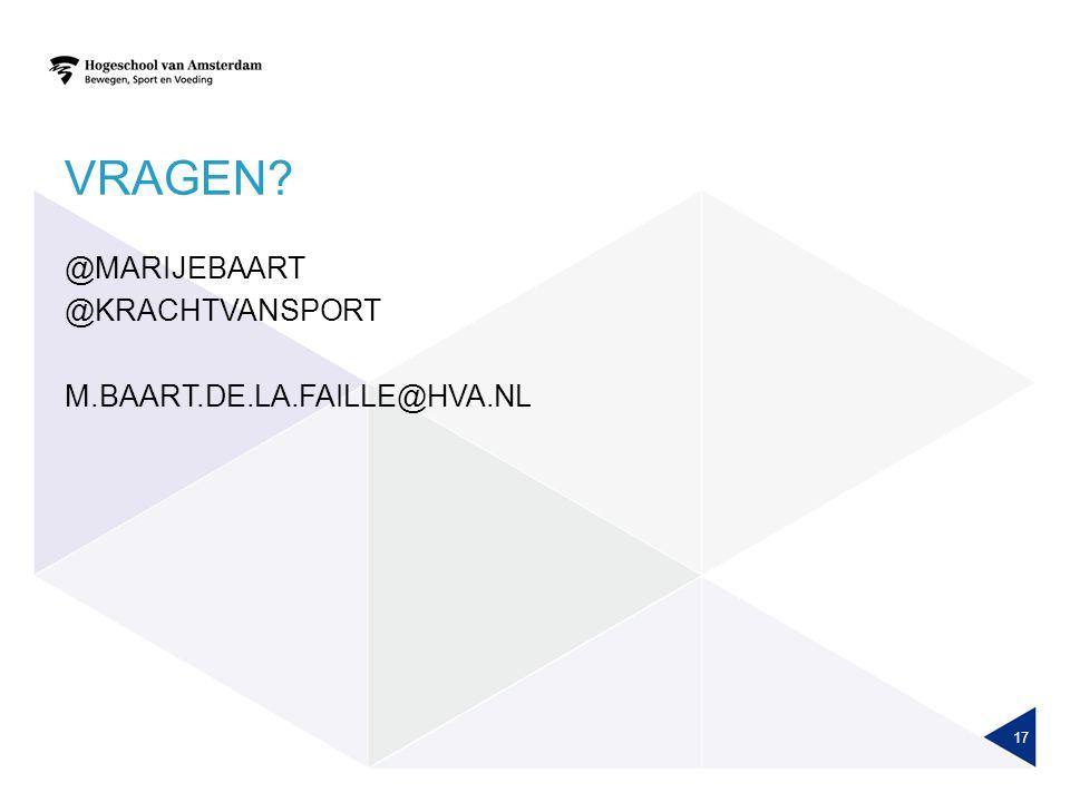Vragen @marijebaart @krachtvansport m.baart.de.la.faille@hva.nl