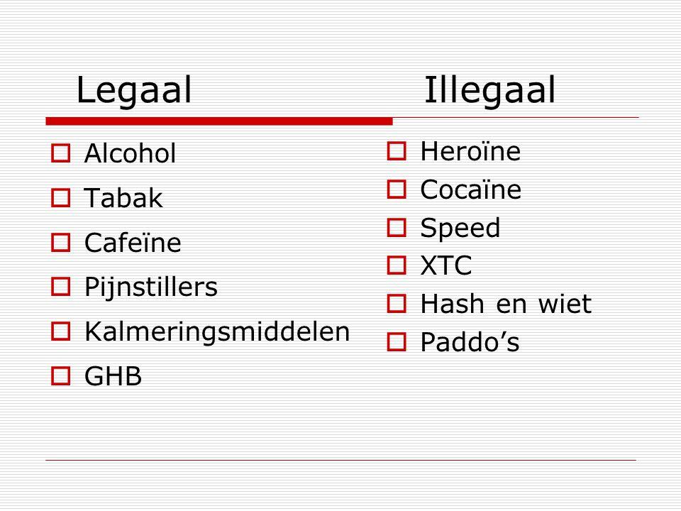 Legaal Illegaal Alcohol Tabak Cafeïne Pijnstillers Kalmeringsmiddelen