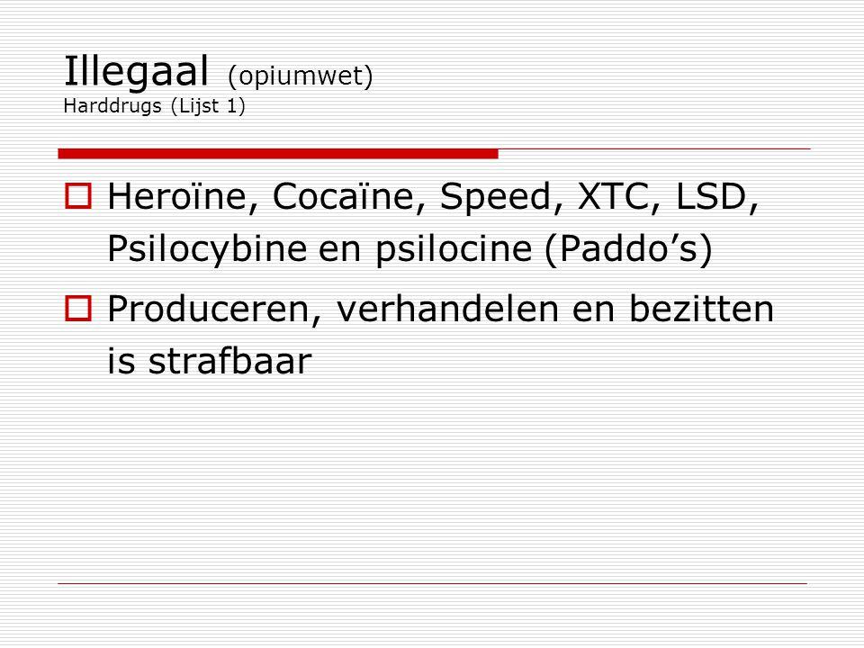 Illegaal (opiumwet) Harddrugs (Lijst 1)