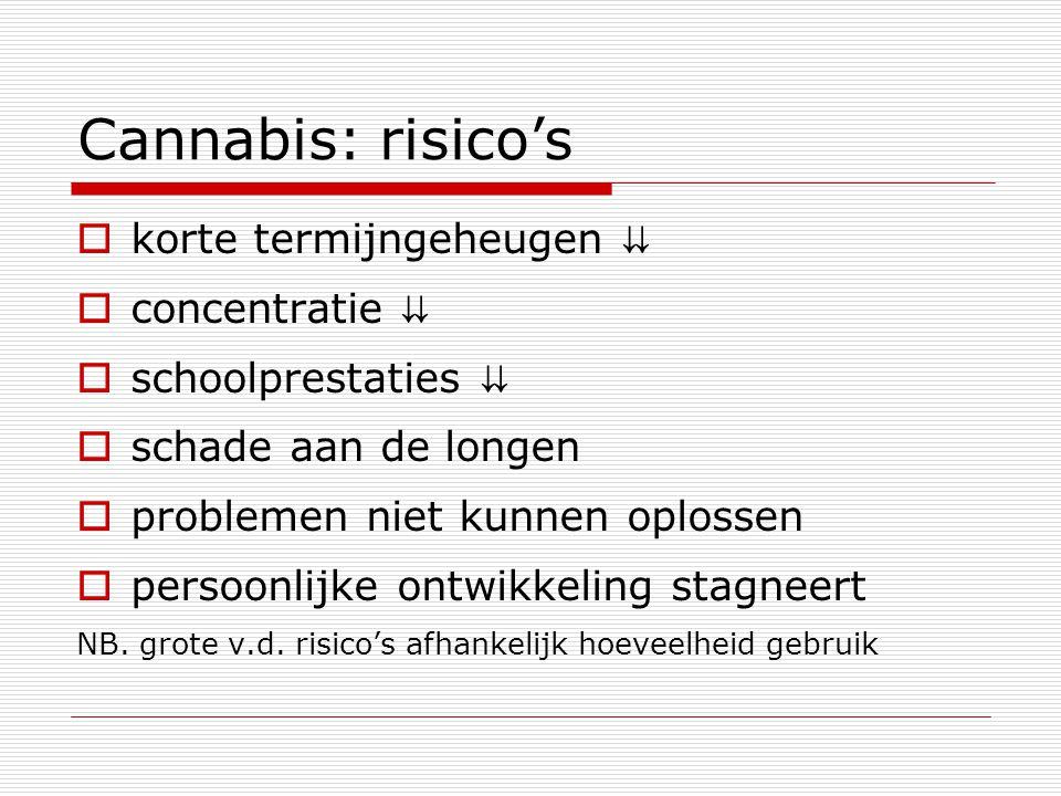 Cannabis: risico's korte termijngeheugen ⇊ concentratie ⇊