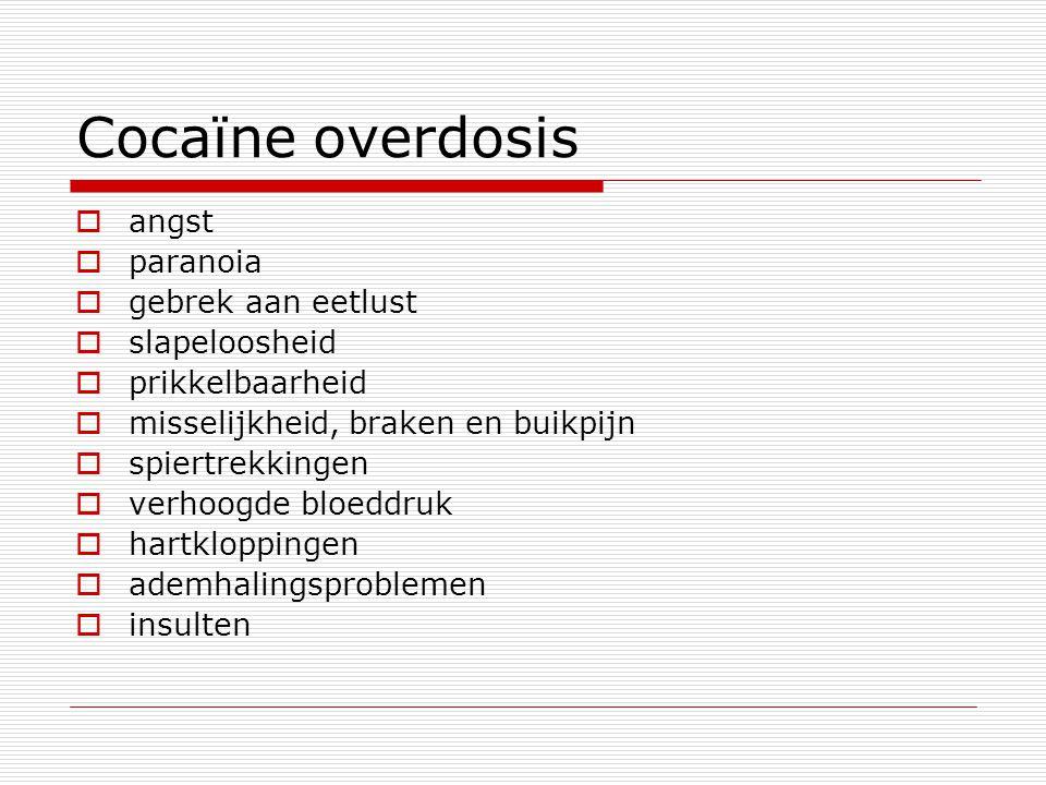 Cocaϊne overdosis angst paranoia gebrek aan eetlust slapeloosheid