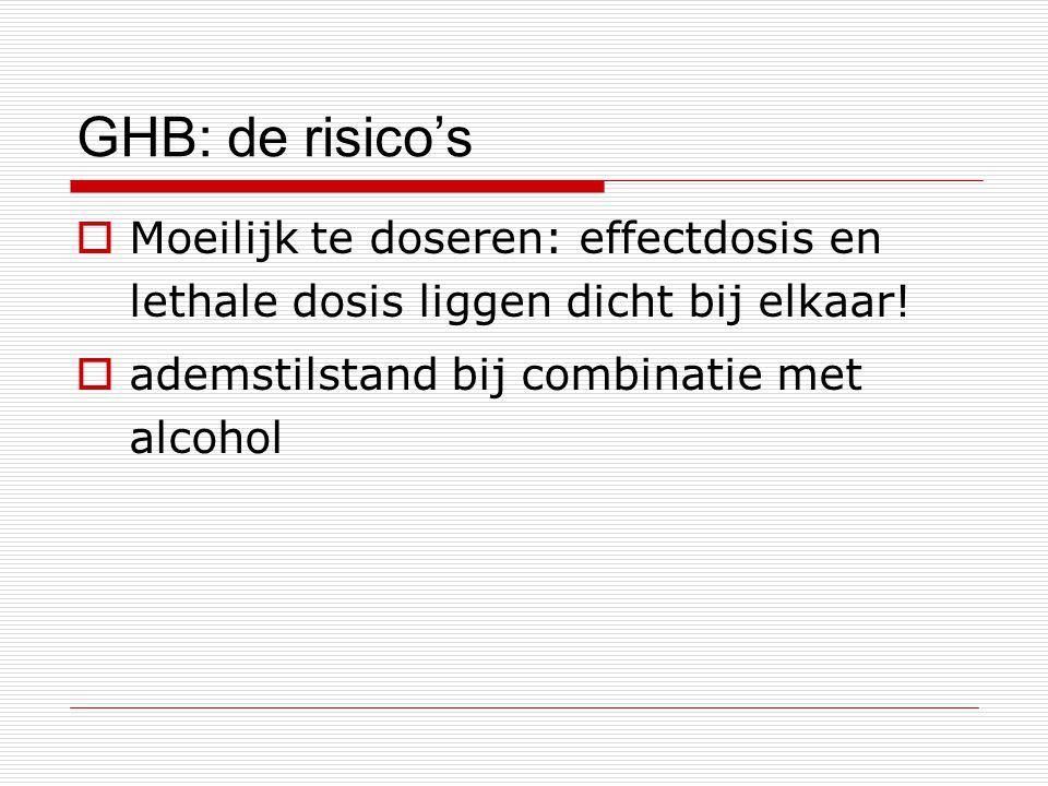 GHB: de risico's Moeilijk te doseren: effectdosis en lethale dosis liggen dicht bij elkaar.