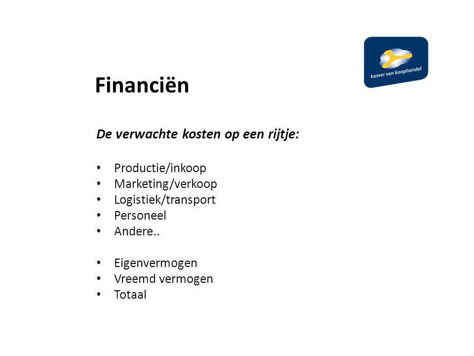 Financiën De verwachte kosten op een rijtje: Productie/inkoop