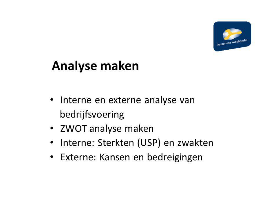Analyse maken Interne en externe analyse van bedrijfsvoering