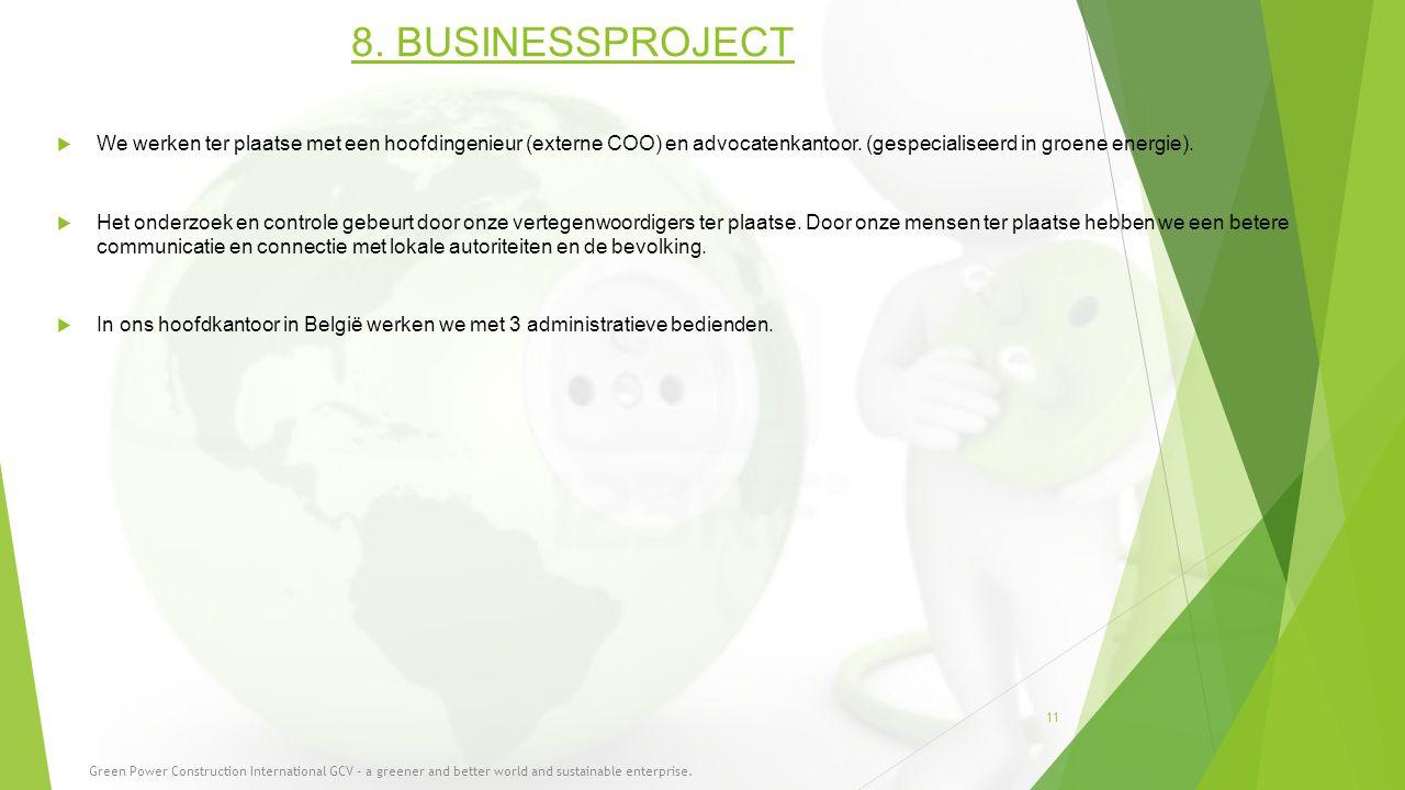 8. BUSINESSPROJECT We werken ter plaatse met een hoofdingenieur (externe COO) en advocatenkantoor. (gespecialiseerd in groene energie).