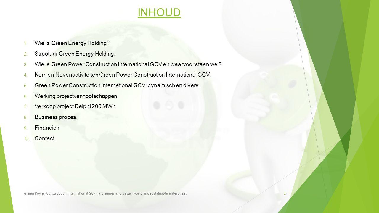 INHOUD Wie is Green Energy Holding Structuur Green Energy Holding.