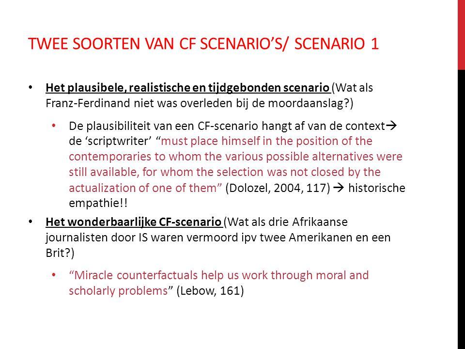 Twee soorten van CF scenario's/ scenario 1
