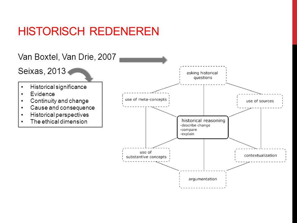 Historisch redeneren Van Boxtel, Van Drie, 2007 Seixas, 2013