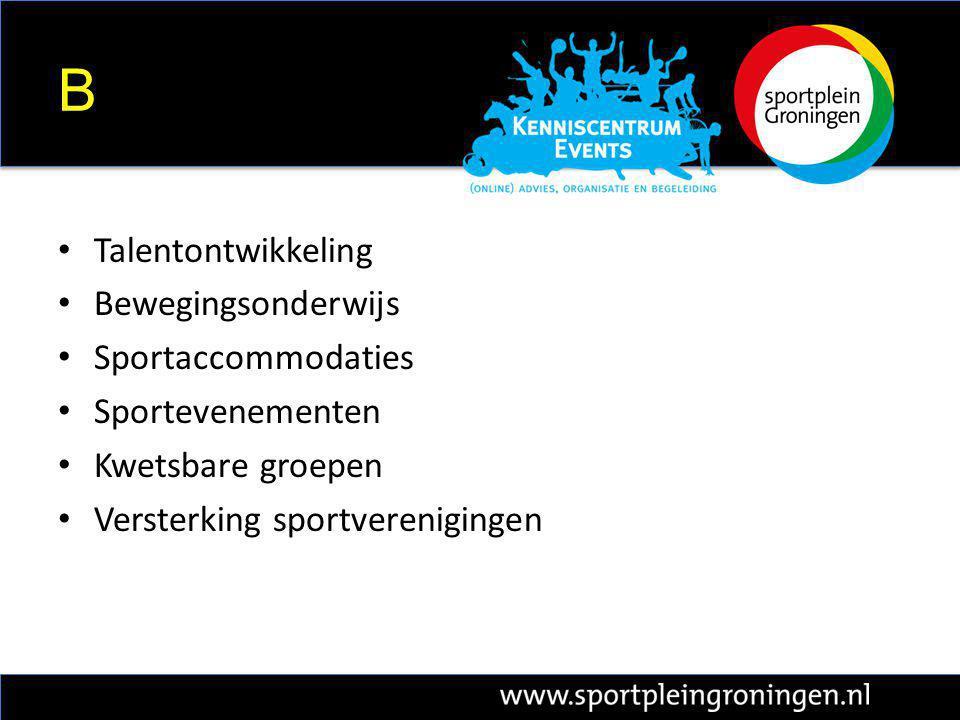 B Talentontwikkeling Bewegingsonderwijs Sportaccommodaties