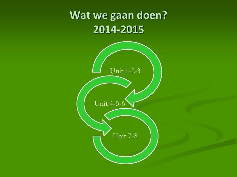 Wat we gaan doen 2014-2015 Unit 1-2-3 Unit 4-5-6 Unit 7-8