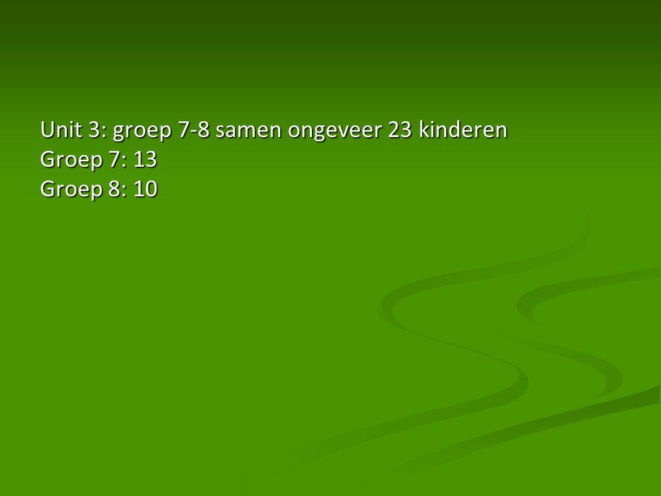Unit 3: groep 7-8 samen ongeveer 23 kinderen