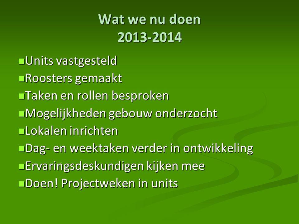 Wat we nu doen 2013-2014 Units vastgesteld Roosters gemaakt