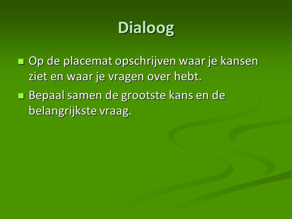 Dialoog Op de placemat opschrijven waar je kansen ziet en waar je vragen over hebt.
