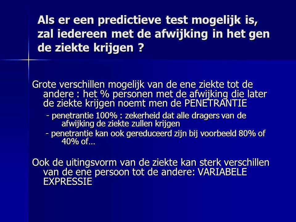 Als er een predictieve test mogelijk is, zal iedereen met de afwijking in het gen de ziekte krijgen