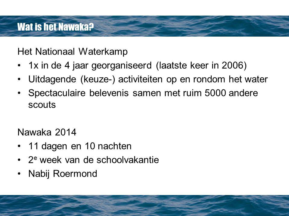 Wat is het Nawaka Het Nationaal Waterkamp. 1x in de 4 jaar georganiseerd (laatste keer in 2006)