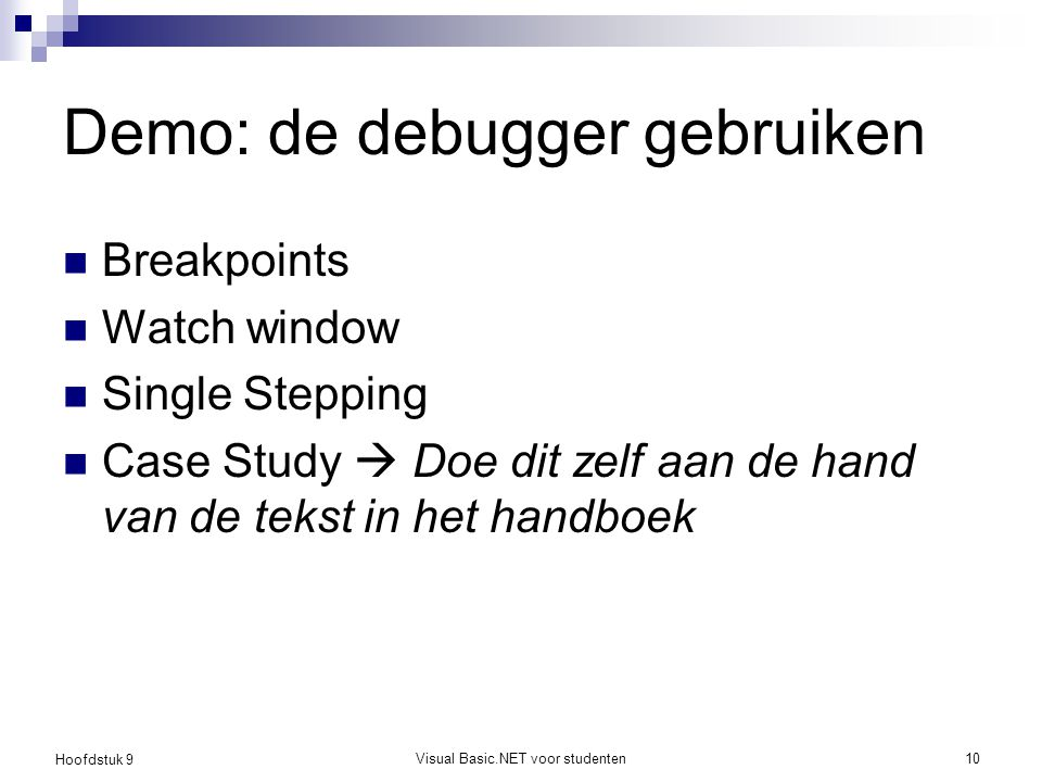Demo: de debugger gebruiken