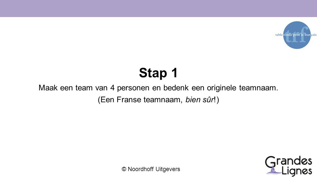 Stap 1 Maak een team van 4 personen en bedenk een originele teamnaam.