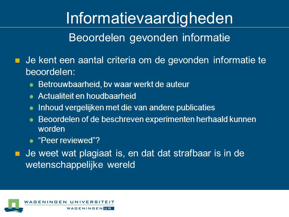 Informatievaardigheden Beoordelen gevonden informatie