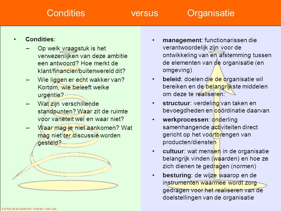 Condities versus Organisatie