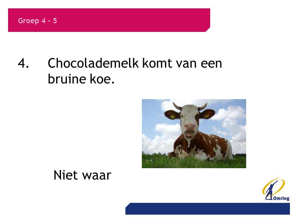 4. Chocolademelk komt van een bruine koe.