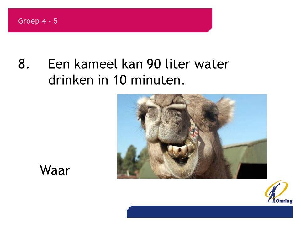 8. Een kameel kan 90 liter water drinken in 10 minuten.
