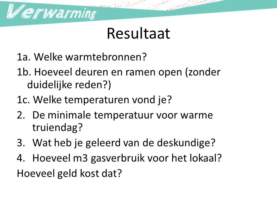 Resultaat 1a. Welke warmtebronnen
